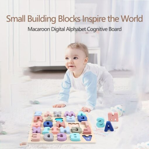 Baby Montessori Wooden Puzzle Hand Grab Board Set 3D Alphabet Digital Number Puzzle Board Wooden Educational 4