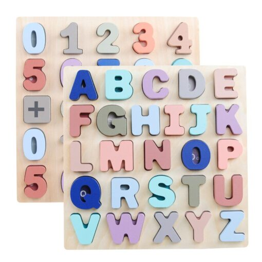 Baby Montessori Wooden Puzzle Hand Grab Board Set 3D Alphabet Digital Number Puzzle Board Wooden Educational