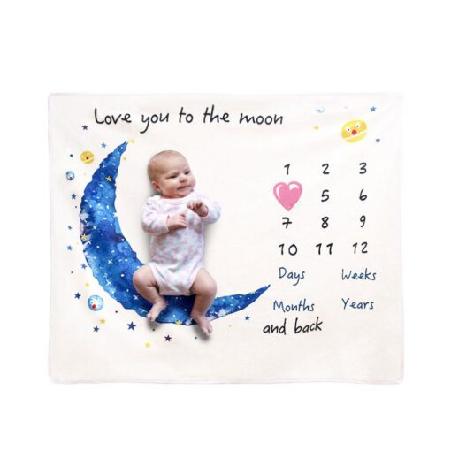 Baby Monthly Growth Milestone Blanket Super Soft Cartoon Moon Flannel Blanket Baby Photography Props Crawling Mat 1