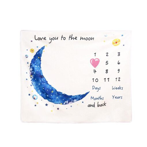 Baby Monthly Growth Milestone Blanket Super Soft Cartoon Moon Flannel Blanket Baby Photography Props Crawling Mat 3