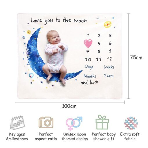 Baby Monthly Growth Milestone Blanket Super Soft Cartoon Moon Flannel Blanket Baby Photography Props Crawling Mat 5