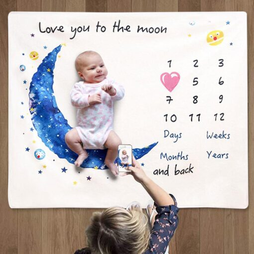 Baby Monthly Growth Milestone Blanket Super Soft Cartoon Moon Flannel Blanket Baby Photography Props Crawling Mat