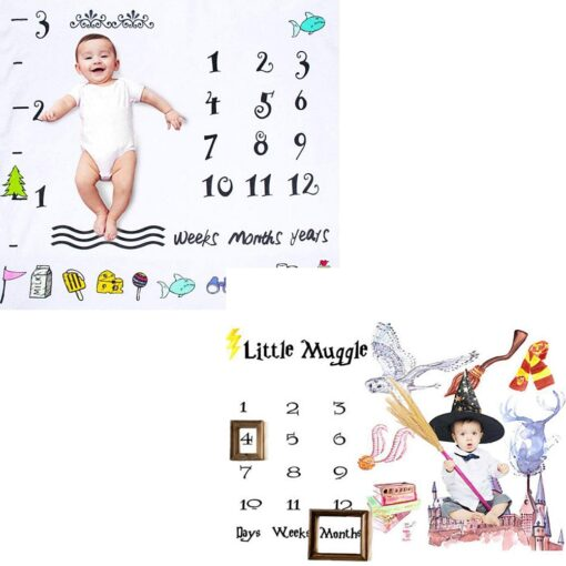 Baby Monthly Milestone Blanket Swaddling Newborn Photography Swaddle Blanket Cute Baby Rug Soft Baby Play Mat 1