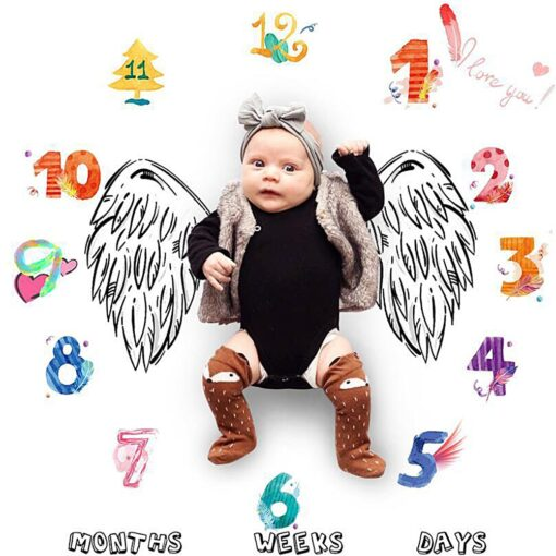 Baby Monthly Milestone Blanket Swaddling Newborn Photography Swaddle Blanket Cute Baby Rug Soft Baby Play Mat 3