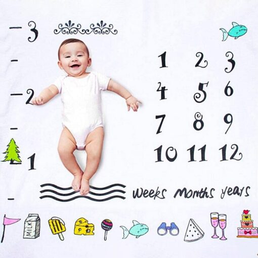 Baby Monthly Milestone Blanket Swaddling Newborn Photography Swaddle Blanket Cute Baby Rug Soft Baby Play Mat 5