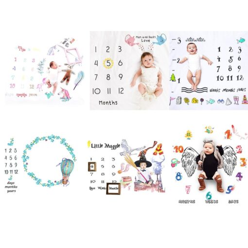 Baby Monthly Milestone Blanket Swaddling Newborn Photography Swaddle Blanket Cute Baby Rug Soft Baby Play Mat