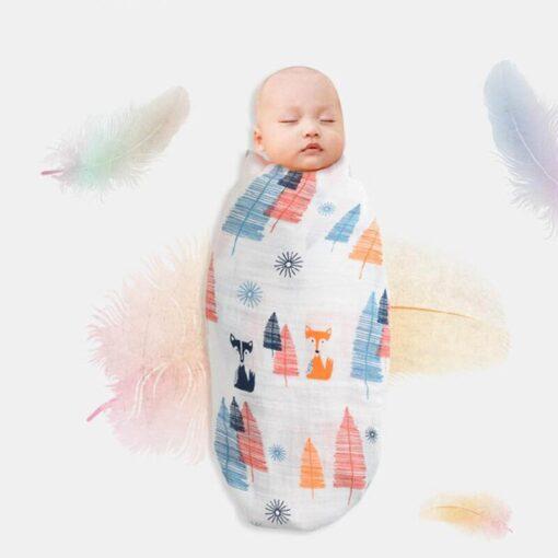 Baby Newborn Infant Boy Girl Print Swaddling Wrap Cotton Soft Blankets Bath Gauze Sleepsack Stroller Cover 3