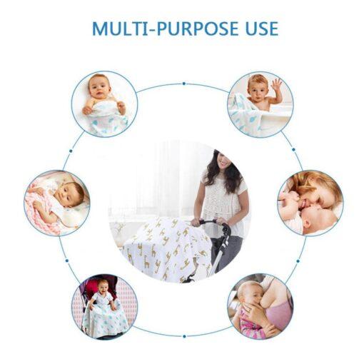 Baby Newborn Infant Boy Girl Print Swaddling Wrap Cotton Soft Blankets Bath Gauze Sleepsack Stroller Cover 5