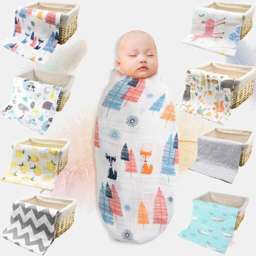 Baby Newborn Infant Boy Girl Print Swaddling Wrap Cotton Soft Blankets Bath Gauze Sleepsack Stroller Cover