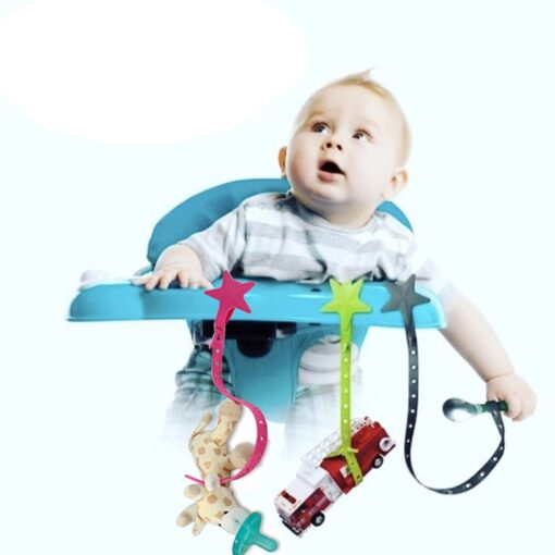 Baby Non toxic Star Pacifier Chain Silicone Strap Stroller Hook Baby Stroller Toy Holder for Infant