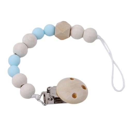 Baby Pacifier Clip Chain Wooden Holder Soother Pacifier Clips Leash Strap Nipple Holder For Infant Nipple 1