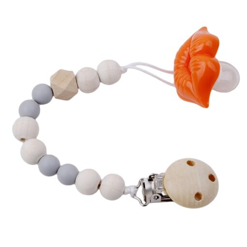 Baby Pacifier Clip Chain Wooden Holder Soother Pacifier Clips Leash Strap Nipple Holder For Infant Nipple 2