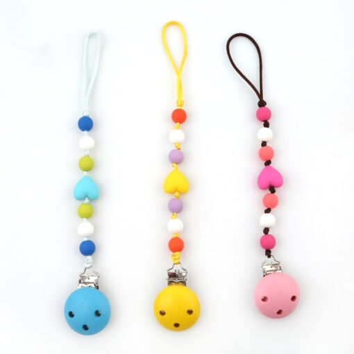 Baby Pacifier Clip Chain Wooden Holder Soother Pacifier Clips Leash Strap Nipple Holder For Infant Nipple 4