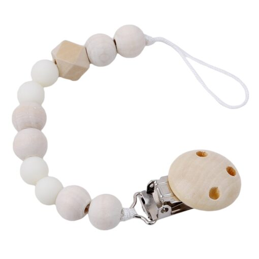 Baby Pacifier Clip Chain Wooden Holder Soother Pacifier Clips Leash Strap Nipple Holder For Infant Nipple