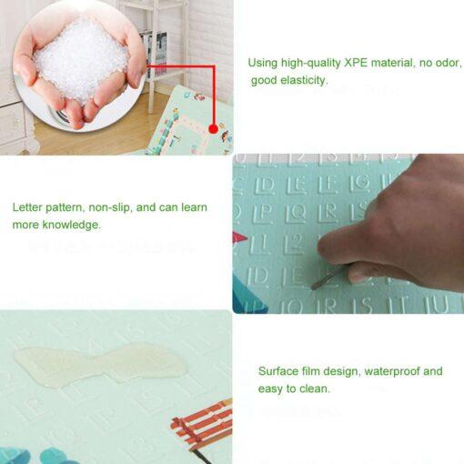 Baby Play Mat Waterproof XPE Soft Floor Playmat Foldable Crawling Carpet Kid Game Activity Rug Folding 2