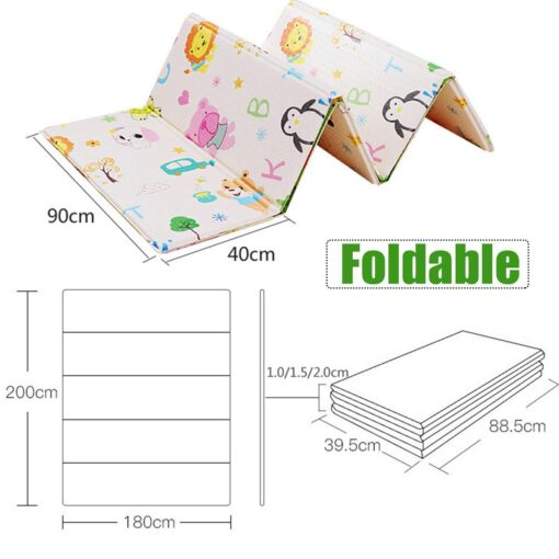 Baby Play Mat Waterproof XPE Soft Floor Playmat Foldable Crawling Carpet Kid Game Activity Rug Folding 5