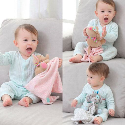 Baby Plush Soothing Toys Security Blanket Baby Toys Towel Cute Deerlet Dog Elephant Animal Doll Comforter 1