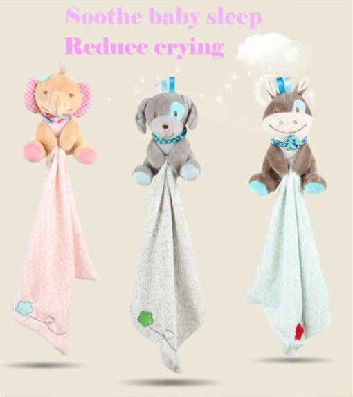 Baby Plush Soothing Toys Security Blanket Baby Toys Towel Cute Deerlet Dog Elephant Animal Doll Comforter 2