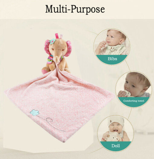Baby Plush Soothing Toys Security Blanket Baby Toys Towel Cute Deerlet Dog Elephant Animal Doll Comforter 5