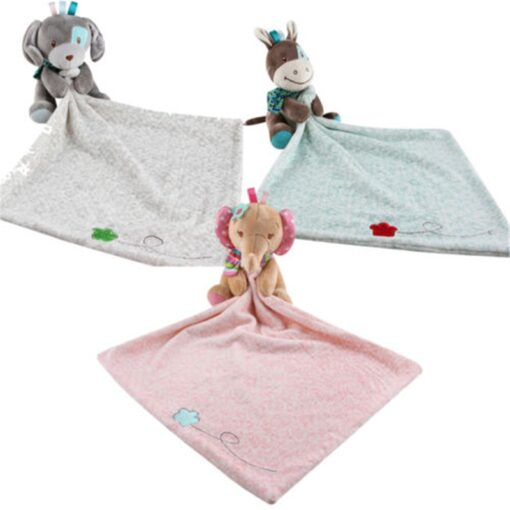 Baby Plush Soothing Toys Security Blanket Baby Toys Towel Cute Deerlet Dog Elephant Animal Doll Comforter