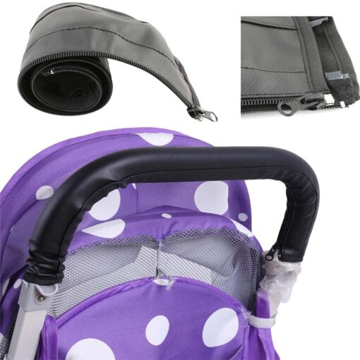 Baby Pram Stroller Armrest Cover Case PU Leather Protective Cover For Armrest Handle Wheelchairs Foldable And