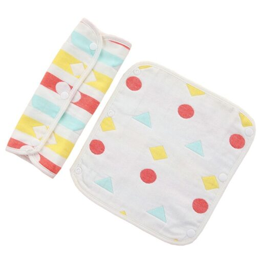 Baby Pure Cotton Supplies Cartoon Pattern Print Saliva Towel Thickened Dark Buckle Feeding Towel 2Ps Hot 3