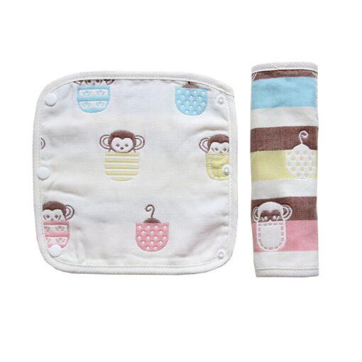 Baby Pure Cotton Supplies Cartoon Pattern Print Saliva Towel Thickened Dark Buckle Feeding Towel 2Ps Hot 4