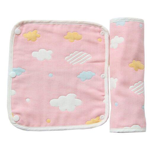Baby Pure Cotton Supplies Cartoon Pattern Print Saliva Towel Thickened Dark Buckle Feeding Towel 2Ps Hot