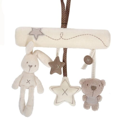 Baby Rabbit Toys Stroller Accessories Hanging Plush Educational Toy Doll Trolley Bells Rattles Carriage Multifunctional Toy