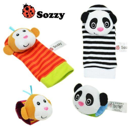 Baby Rattles Baby Kids Rattle Toys Cartoon Animal Plush Hand Bell Hanging Wrist Rattle Foot Socks 1