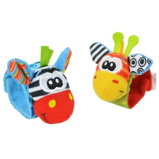 Baby Rattles Baby Kids Rattle Toys Cartoon Animal Plush Hand Bell Hanging Wrist Rattle Foot Socks 3