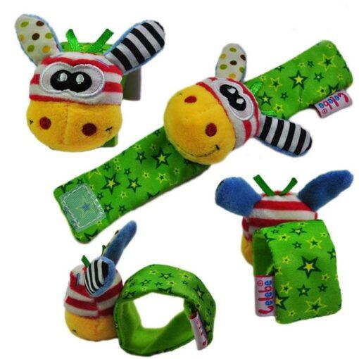 Baby Rattles Baby Kids Rattle Toys Cartoon Animal Plush Hand Bell Hanging Wrist Rattle Foot Socks 4
