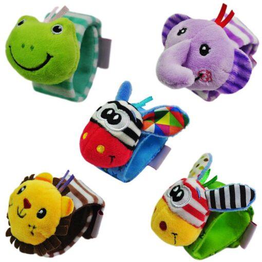 Baby Rattles Baby Kids Rattle Toys Cartoon Animal Plush Hand Bell Hanging Wrist Rattle Foot Socks 5