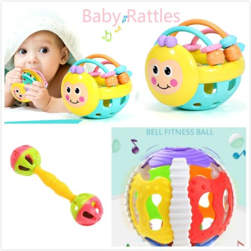 Baby Rattles Baby Toys Little Bell Ball Rattles Grasping Mobile Toy Hand Knocking Rattle Dumbbell Early