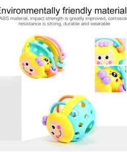 Baby Rattles Toy Teething Rattle Plastic Hand Bell Intelligence Grasping Gums Baby Teether Toy Baby Care 4