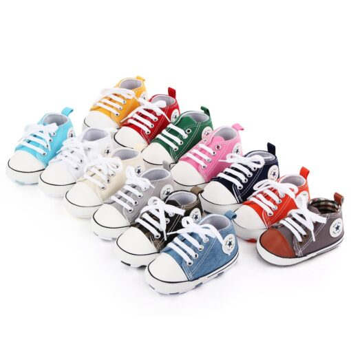 Baby Shoes Boy Girl Star Solid Sneaker Cotton Soft Anti Slip Sole Newborn Infant First Walkers 2