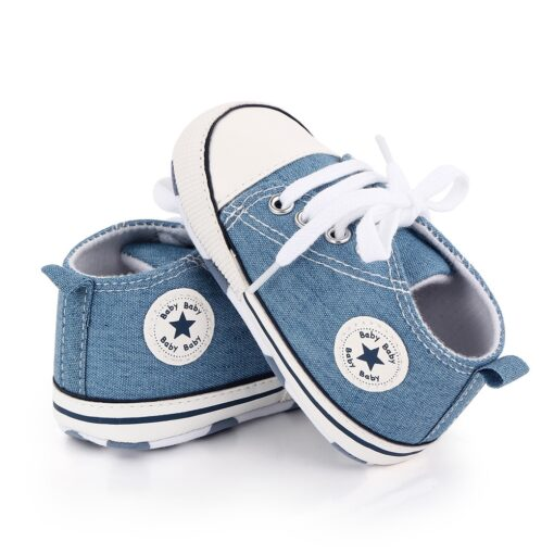 Baby Shoes Boy Girl Star Solid Sneaker Cotton Soft Anti Slip Sole Newborn Infant First Walkers 3