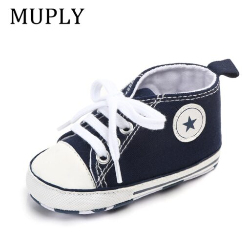 Baby Shoes Boy Girl Star Solid Sneaker Cotton Soft Anti Slip Sole Newborn Infant First Walkers 4