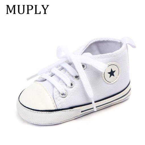 Baby Shoes Boy Girl Star Solid Sneaker Cotton Soft Anti Slip Sole Newborn Infant First Walkers 5