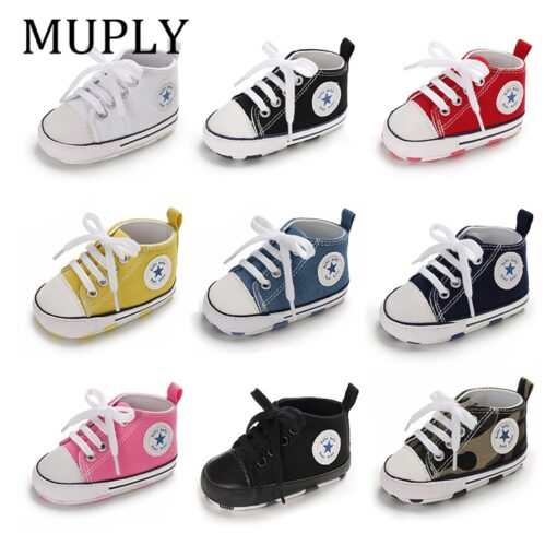 Baby Shoes Boy Girl Star Solid Sneaker Cotton Soft Anti Slip Sole Newborn Infant First Walkers