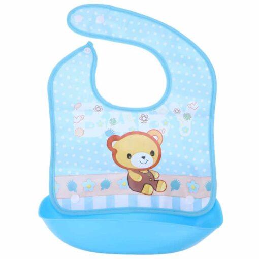 Baby Silicone Bibs Kids Lovely Cartoon Animals Pocket Bib Bandana Waterproof Feeding Newborn Infant Food Bib 3