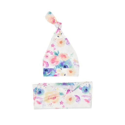 Baby Swaddle Blanket Sleeping Bag Knotted Fetal Cap 2 Sets of Baby Newborn Type Printing Sleeping 4