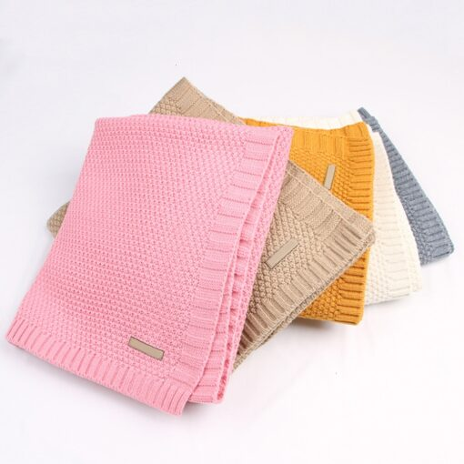 Baby Swaddle Muslin Swaddle Knitted Organic Cotton Children s Bed Blankets Colorful Soft Bedding Child Swaddle