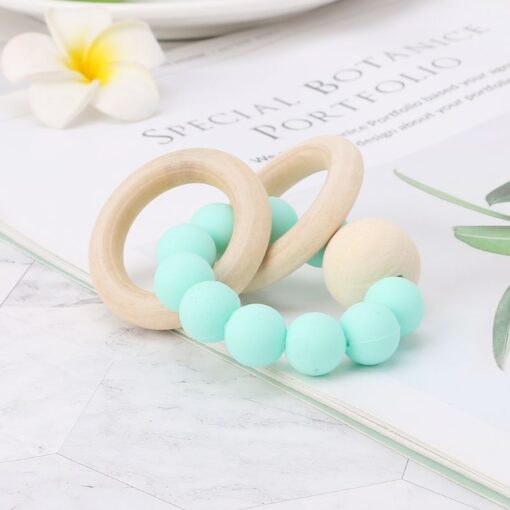 Baby Teether Bracelet Teething Toys Chew Bite Newborn Teeth Care Beads Jewelry Pain Relief Silicone Wood 1