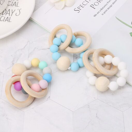Baby Teether Bracelet Teething Toys Chew Bite Newborn Teeth Care Beads Jewelry Pain Relief Silicone Wood 3