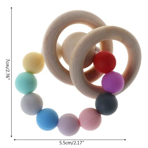 Baby Teether Bracelet Teething Toys Chew Bite Newborn Teeth Care Beads Jewelry Pain Relief Silicone Wood 4
