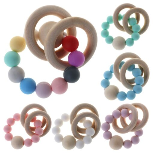 Baby Teether Bracelet Teething Toys Chew Bite Newborn Teeth Care Beads Jewelry Pain Relief Silicone Wood 5