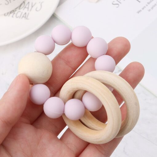 Baby Teether Bracelet Teething Toys Chew Bite Newborn Teeth Care Beads Jewelry Pain Relief Silicone Wood
