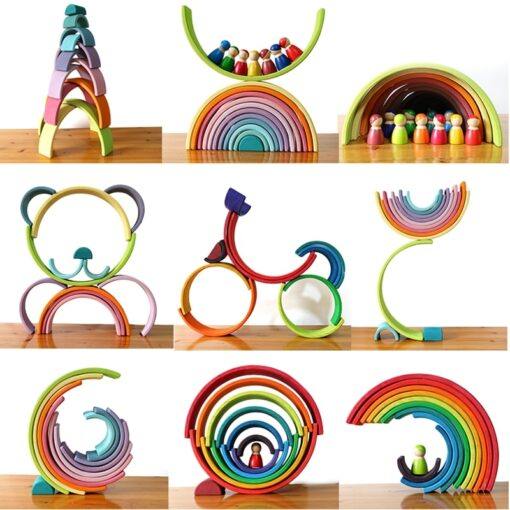Baby Toys Large Rainbow Stacker Wooden Toys For Kids Creative Rainbow Building Blocks Montessori Educational Toy 1