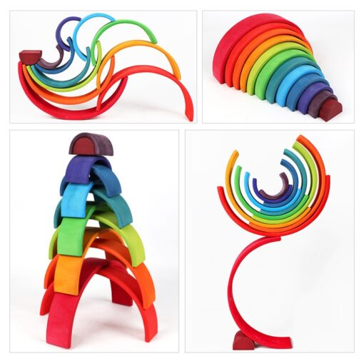 Baby Toys Large Rainbow Stacker Wooden Toys For Kids Creative Rainbow Building Blocks Montessori Educational Toy 2